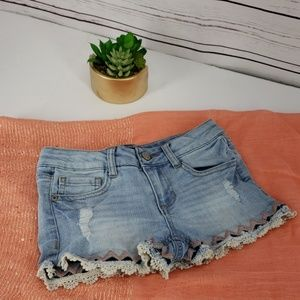 Vanilla Star Girl's Lace Trim Shorts